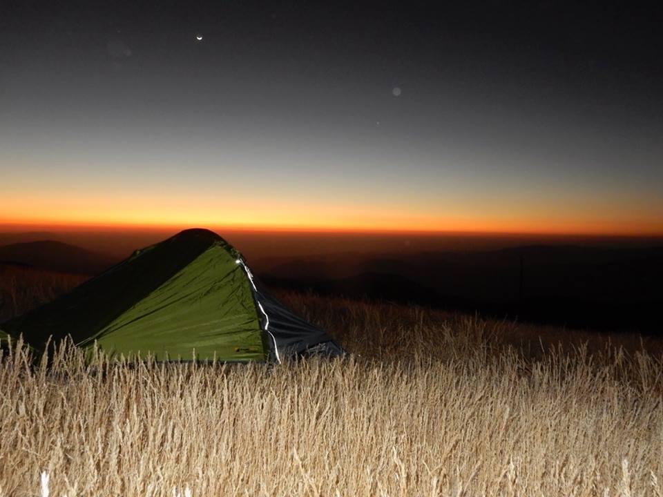 Set up camp as the sun set